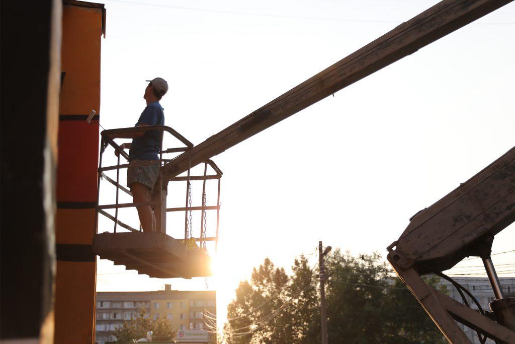 место вечер закат вышка кран место стрит-арт стритарт художник
