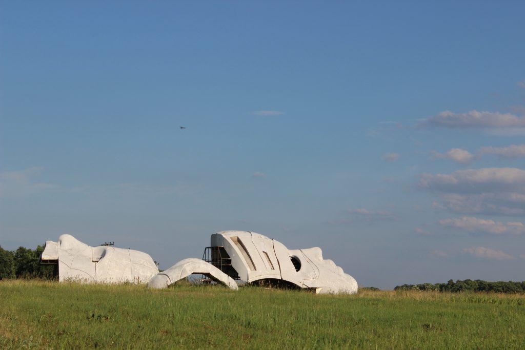 В Большом Козино образовался стихийный арт-объект в виде прошлогодних декораций Alfa Future People