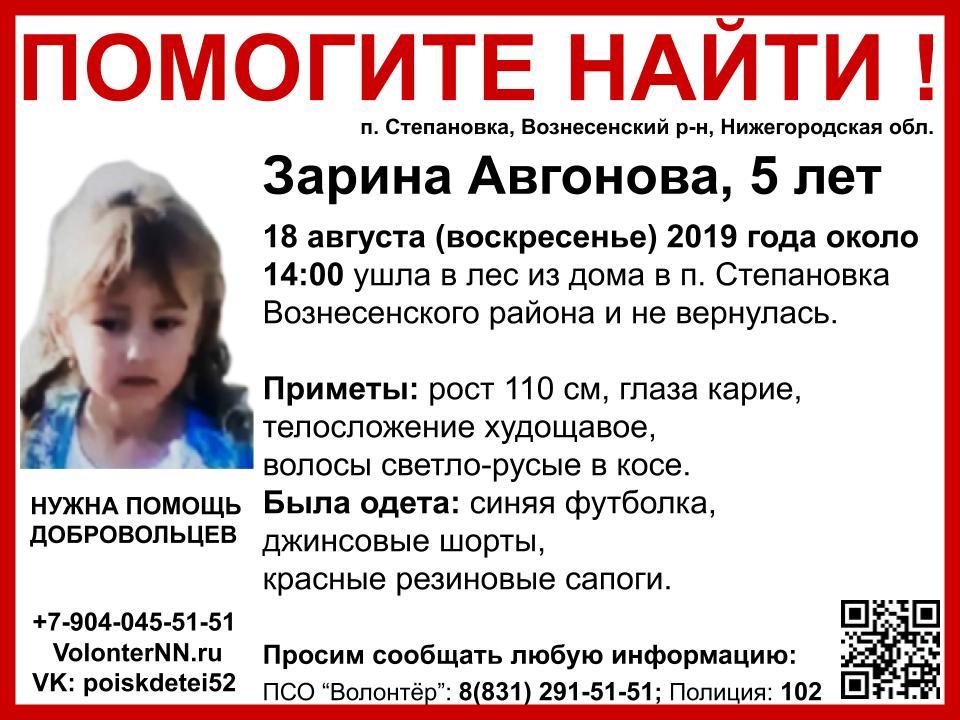 Волонтёры назвали места, куда можно передать вещи для поиска 5-летней Зарины Авгоновой