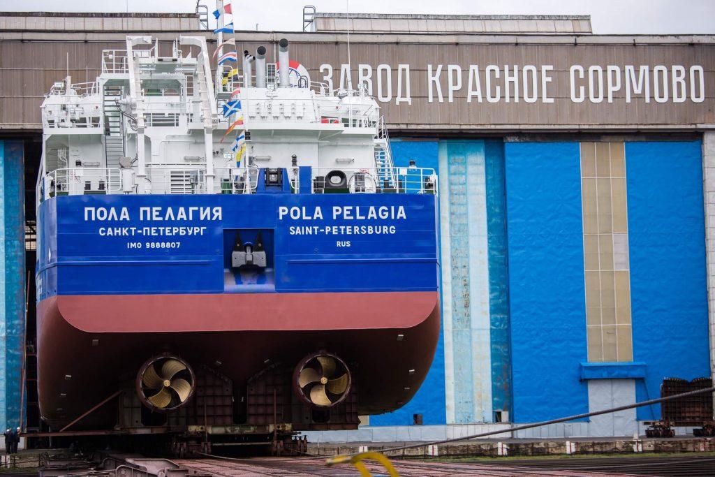Фото дня: Сухогруз «Пола Пелагия» спустили на воду в Нижнем Новгороде