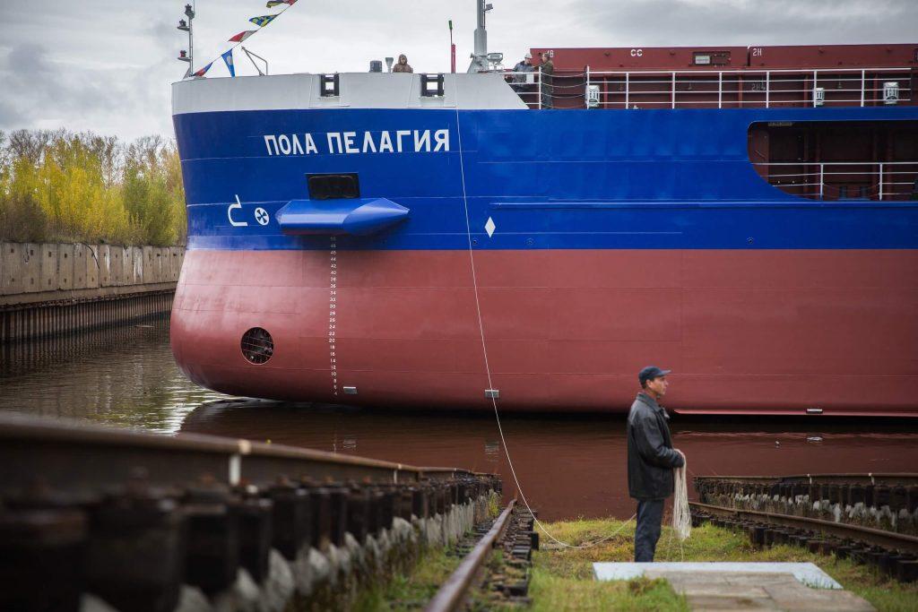 Сухогруз «Пола Пелагея» спустили на воду в Нижнем Новгороде