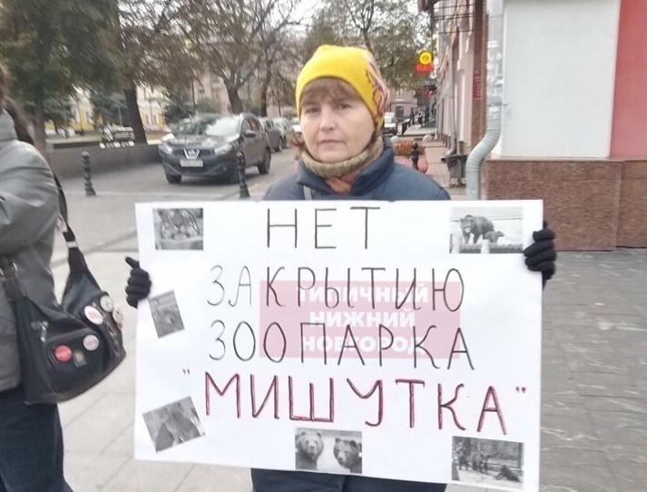 Нижегородцы вышли на пикет в защиту зоопарка «Мишутка»