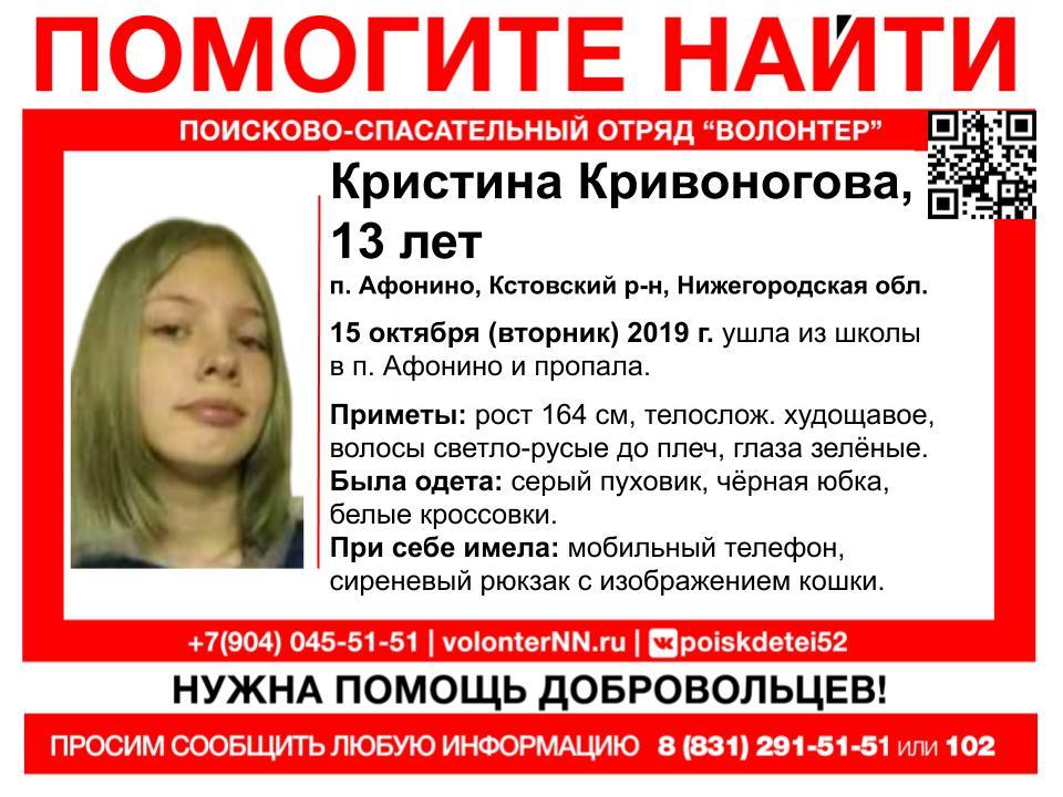 13-летняя девушка пропала в Нижегородской области (UPD: найдена, жива)