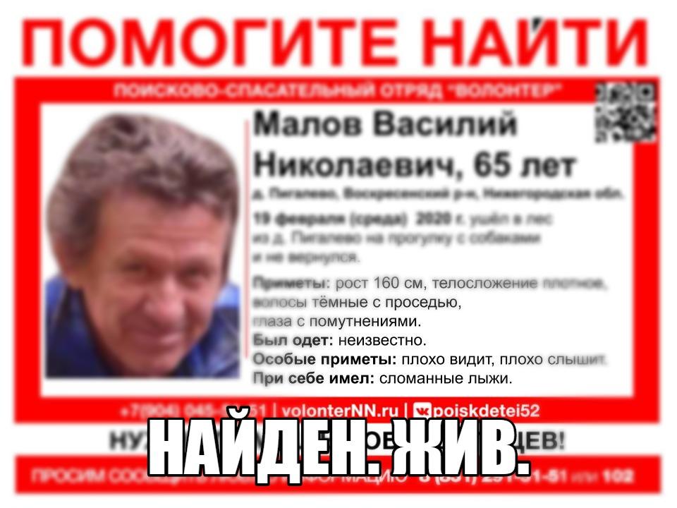 Василия Малова, пропавшего в лесу, нашли живым