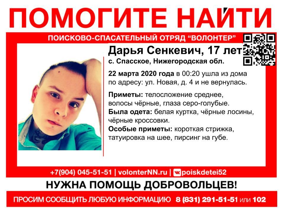 17-летняя Дарья Сенкевич пропала в Нижегородской области