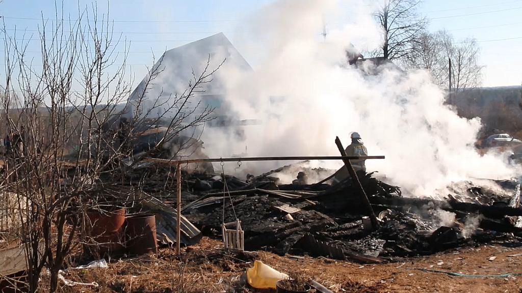 Появилось видео с места пожара в Воскресенском районе