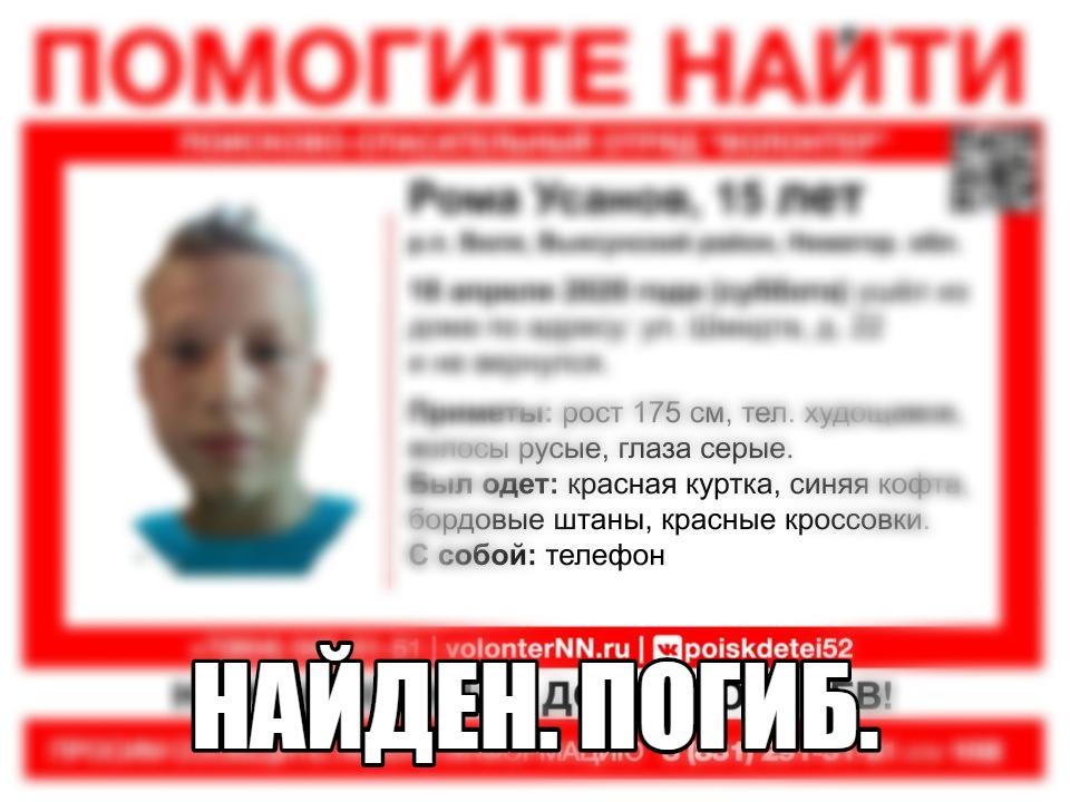 15-летнего мальчика, пропавшего в Нижегородской области, нашли погибшим