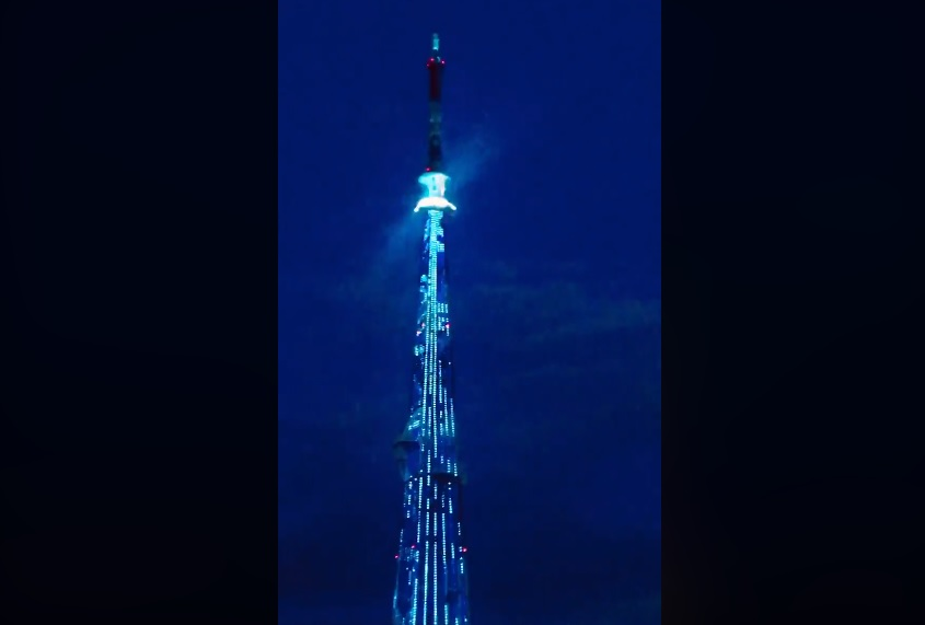 Видео дня: праздничная подсветка зажглась на нижегородской телебашне в честь последнего звонка