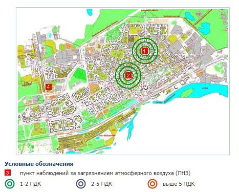 карта загрязнения формальдегидом Дзержинск