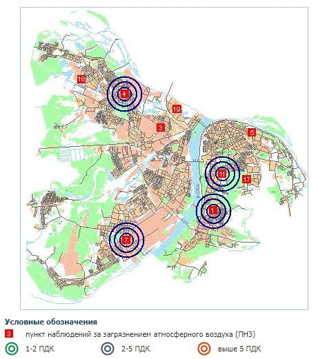 карта загрязнения формальдегидом Нижний Новгород