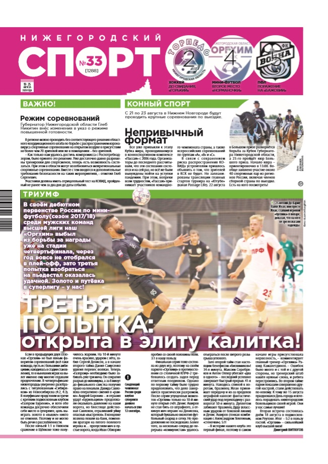 Нижегородский спорт №33 от 19.08.2020