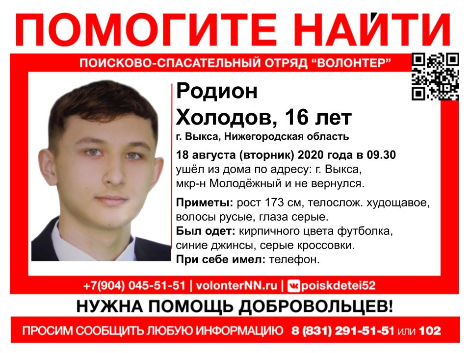 16-летний Родион Холодов пропал в Выксе