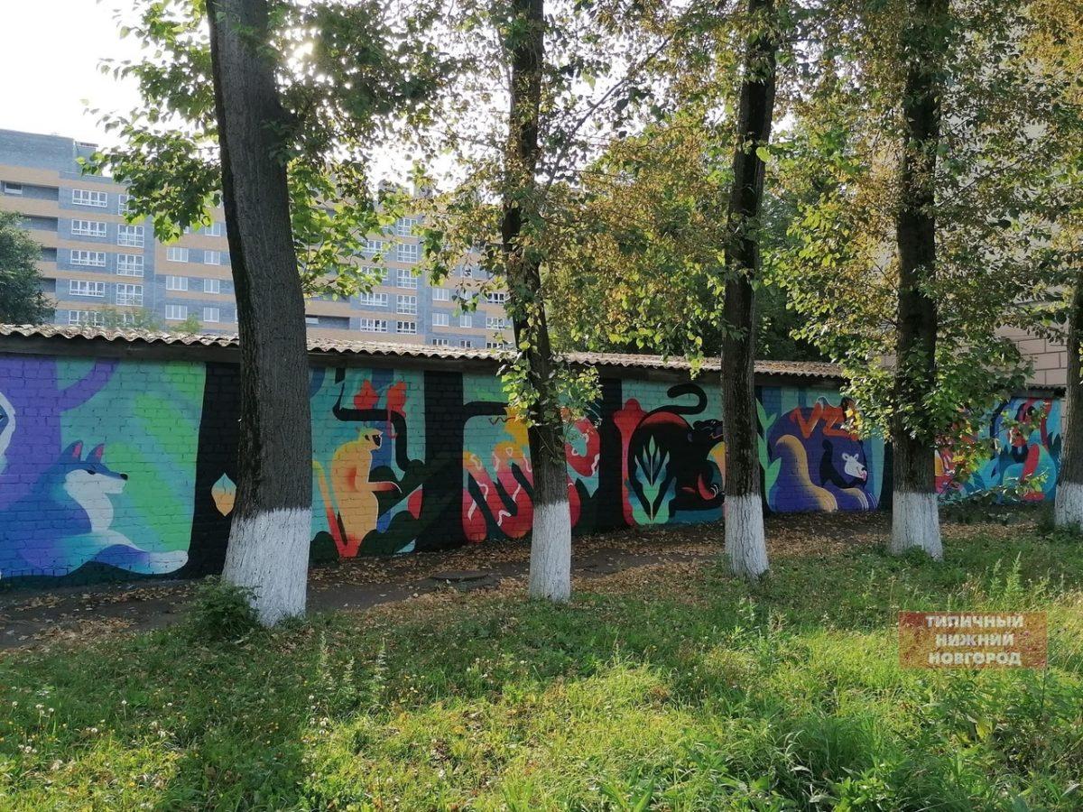 Фото дня: Уличная художница украсила испорченную вандалами стену в детском саду Нижнего Новгорода