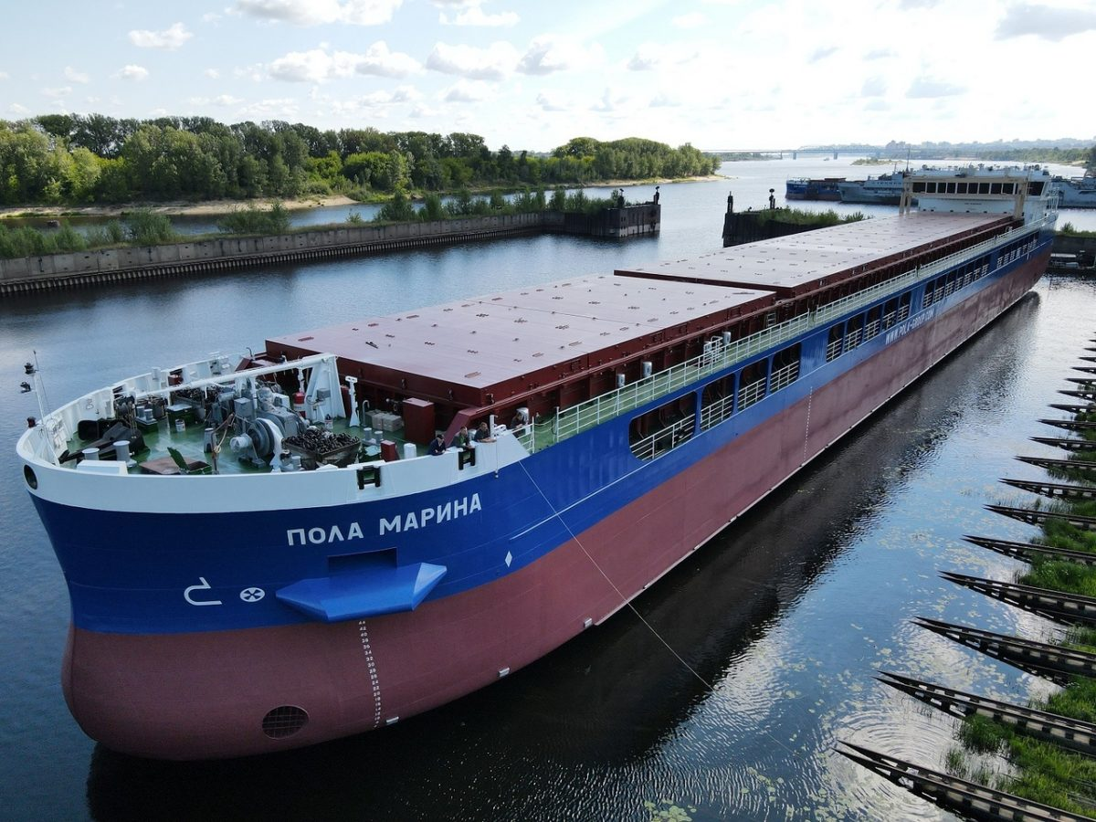 На заводе «Красное Сормово» на воду спустили сухогруз «Пола Марина»