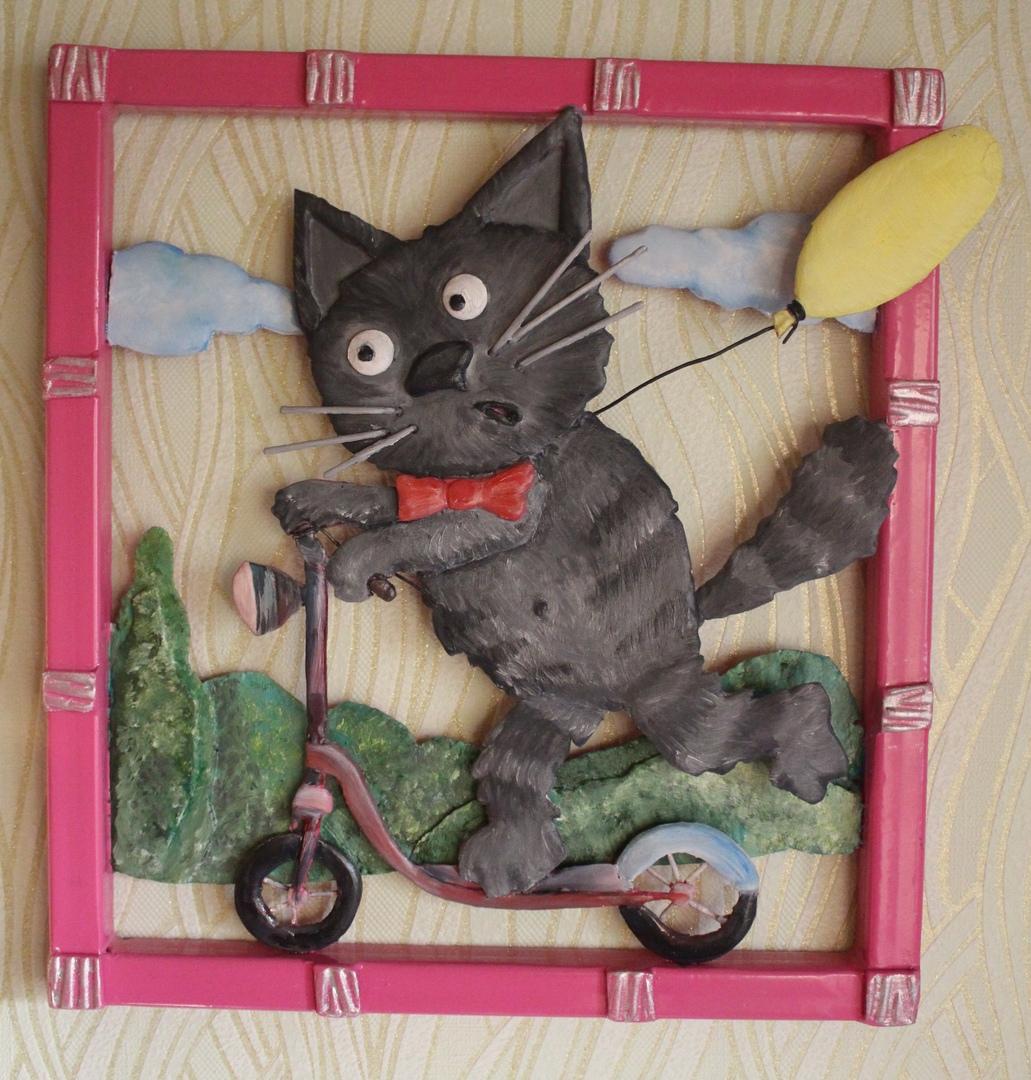 картины кот на самокате