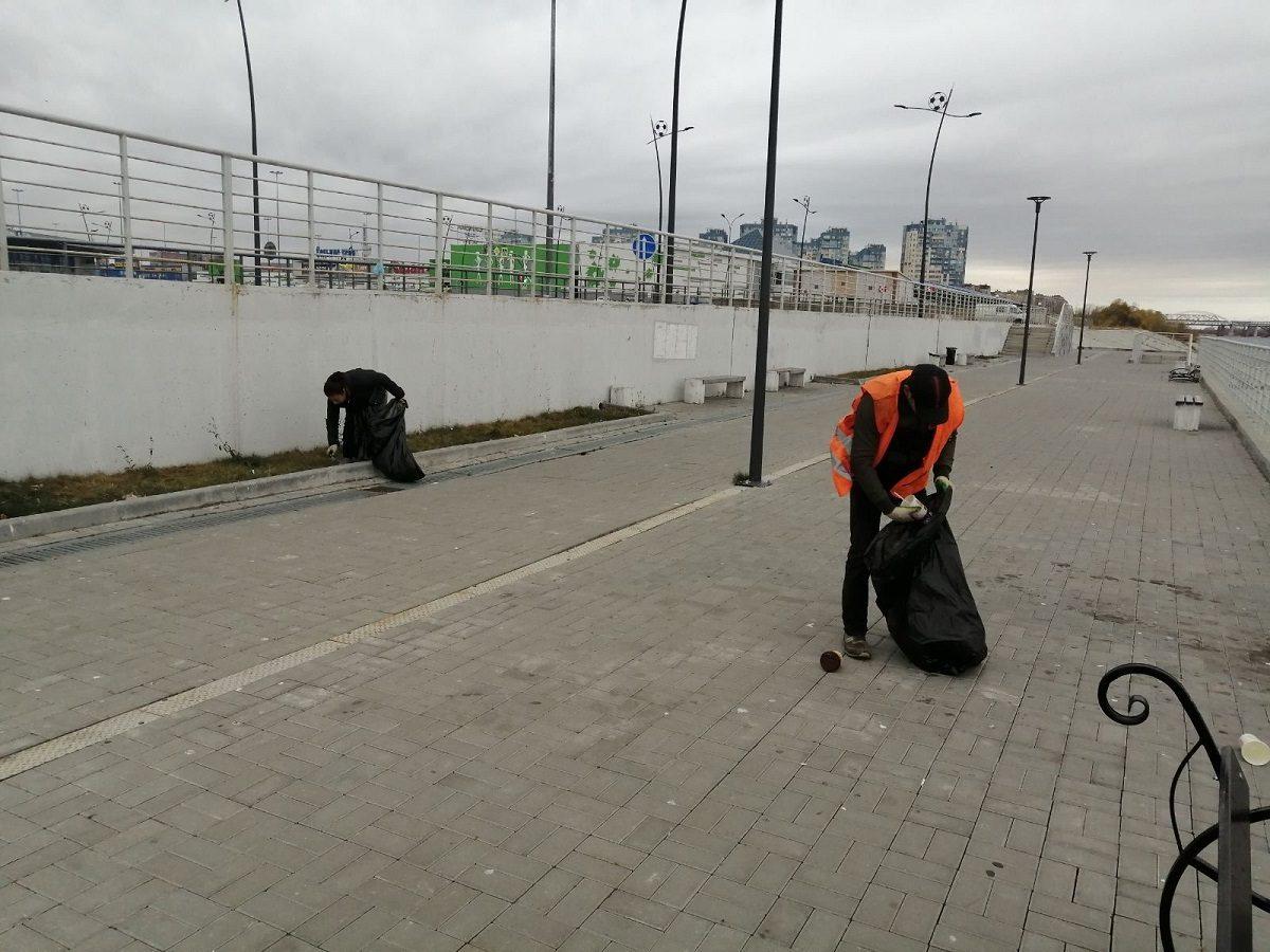 Территорию у стадиона «Нижний Новгород» привели в порядок после разгрома вандалами