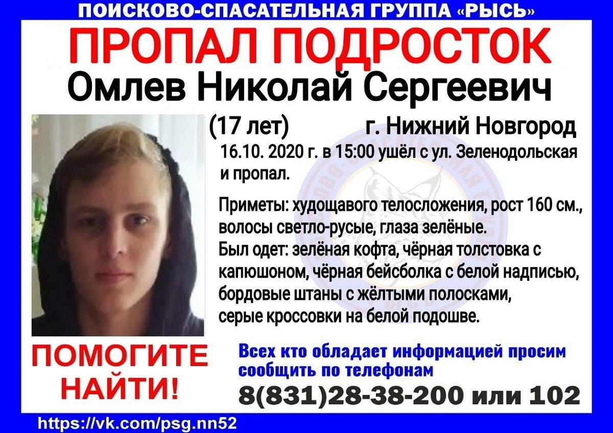 17-летний Николай Омлев пропал в Нижнем Новгороде