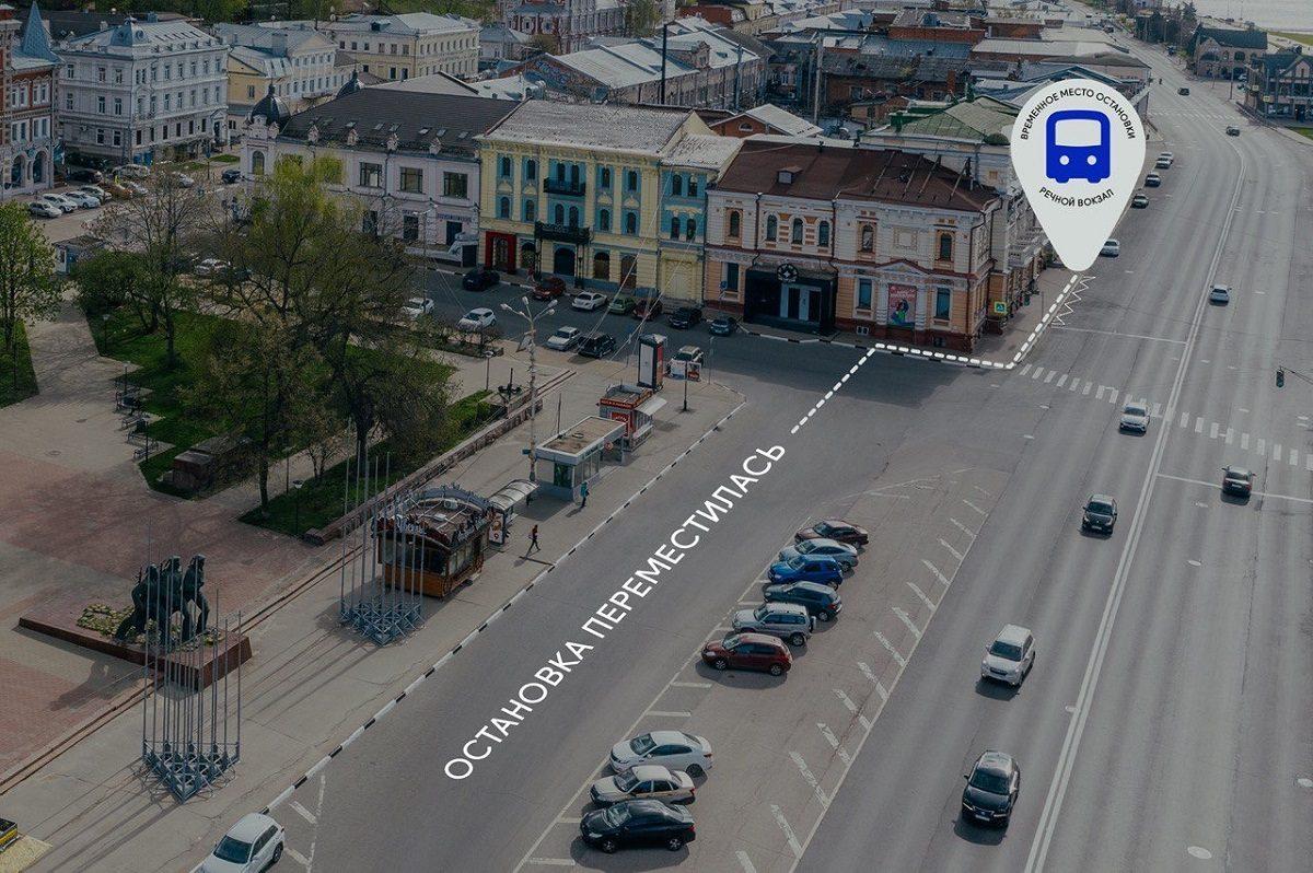Остановку «Речной вокзал» состороны площади Маркина временно перенесли