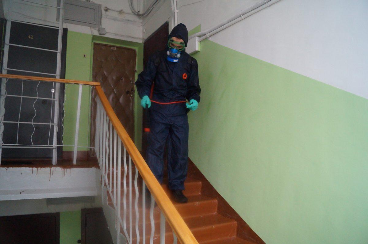 Дезинфекцию подъездов провели в домах Приокского района Нижнего Новгорода