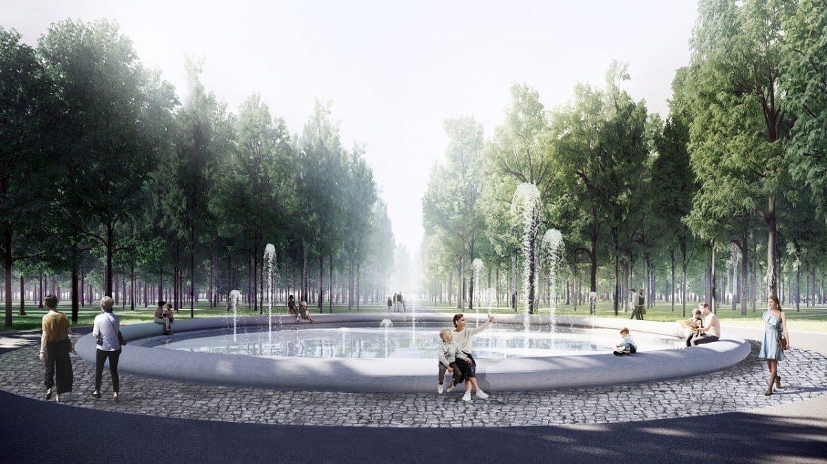 Фонтан с овальной чашей-скамейкой и экошкола появятся в нижегородском парке «Швейцария»