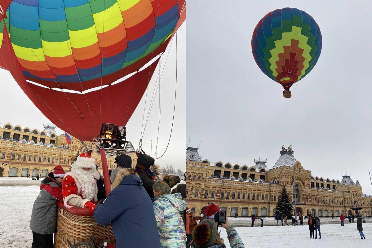 Фото дня: Дед Мороз взлетел на воздушном шаре на Нижегородской ярмарке