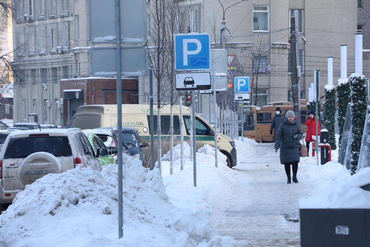 В центре Нижнего Новгорода продлены ограничения на парковку из-за снегопада