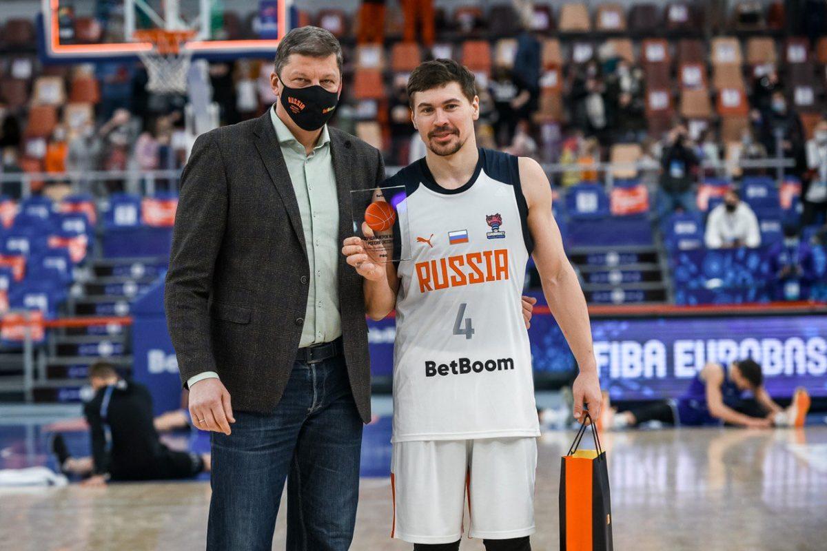 Капитан БК «НН» Евгений Бабурин стал лучшим игроком сборной в игре против эстонцев