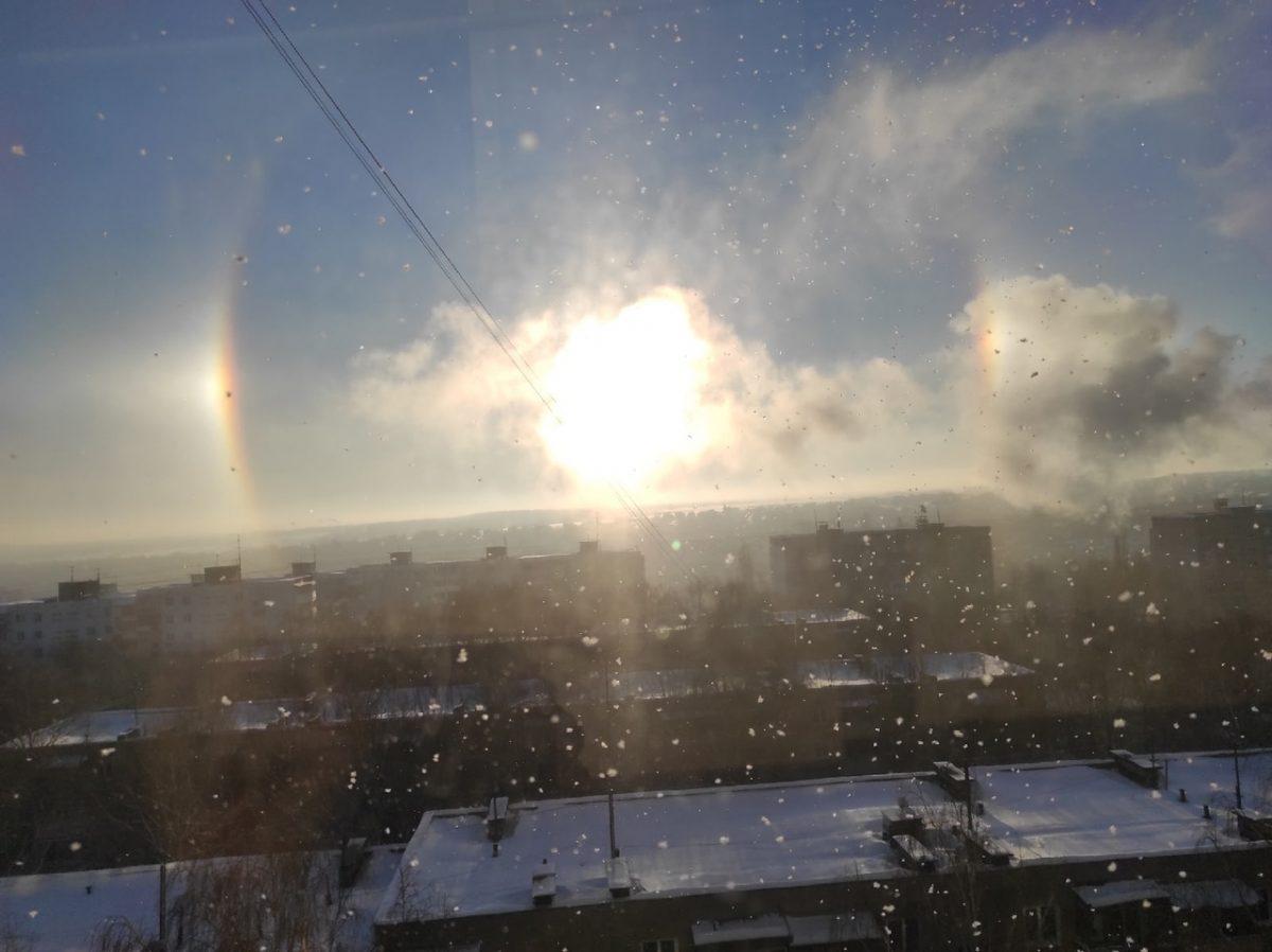 Фото дня: Нижегородцы наблюдали утреннее гало в Щербинках