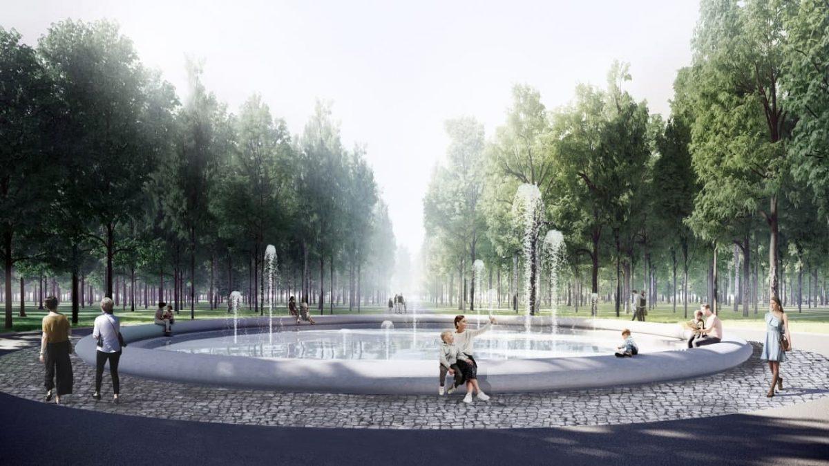 В парке «Швейцария» началась отделка фонтана с бетонной чашей