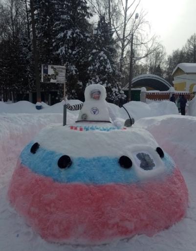 Жители Заволжья слепили снежного Юрия Гагарина