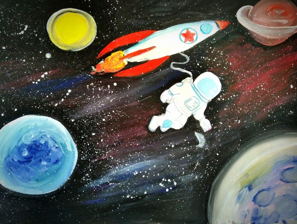 Дети рисуют космос на областном арт-фестивале «12 апреля»