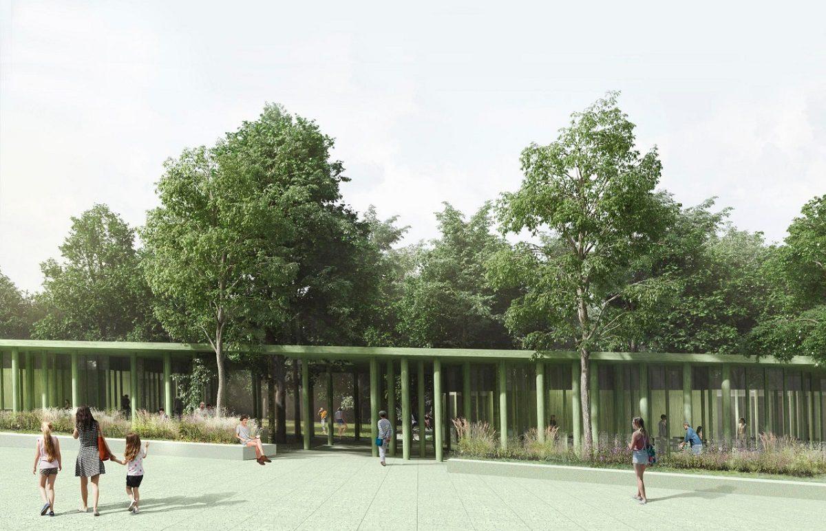 Впарке «Швейцария» проводятся монтажные работы крыши комплекса кафе