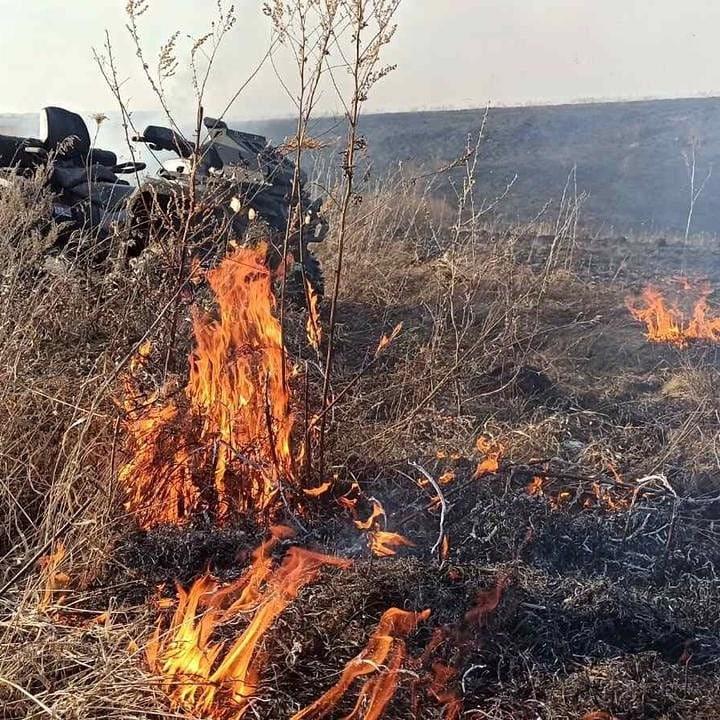 В Павлово потушен крупный пожар сухой травы