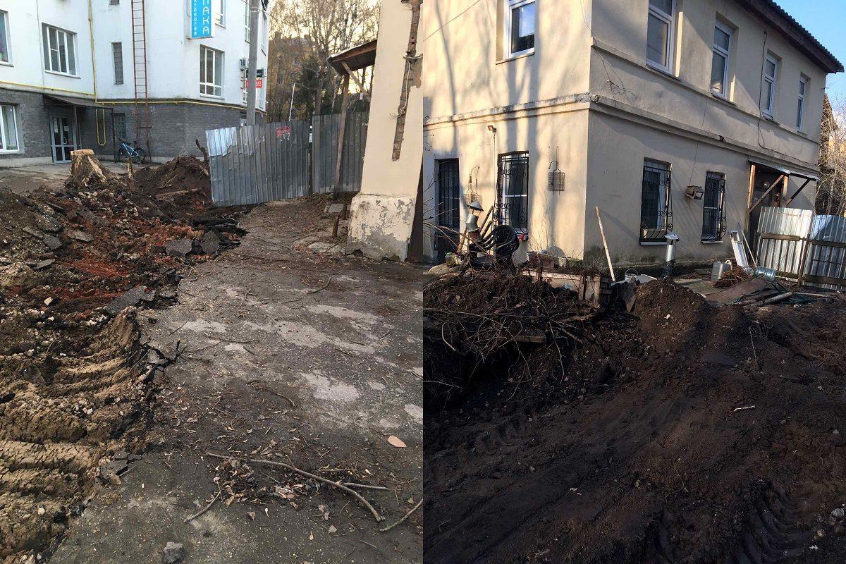 Жителей исторического дома на улице Грузинской оставили без придомовой территории