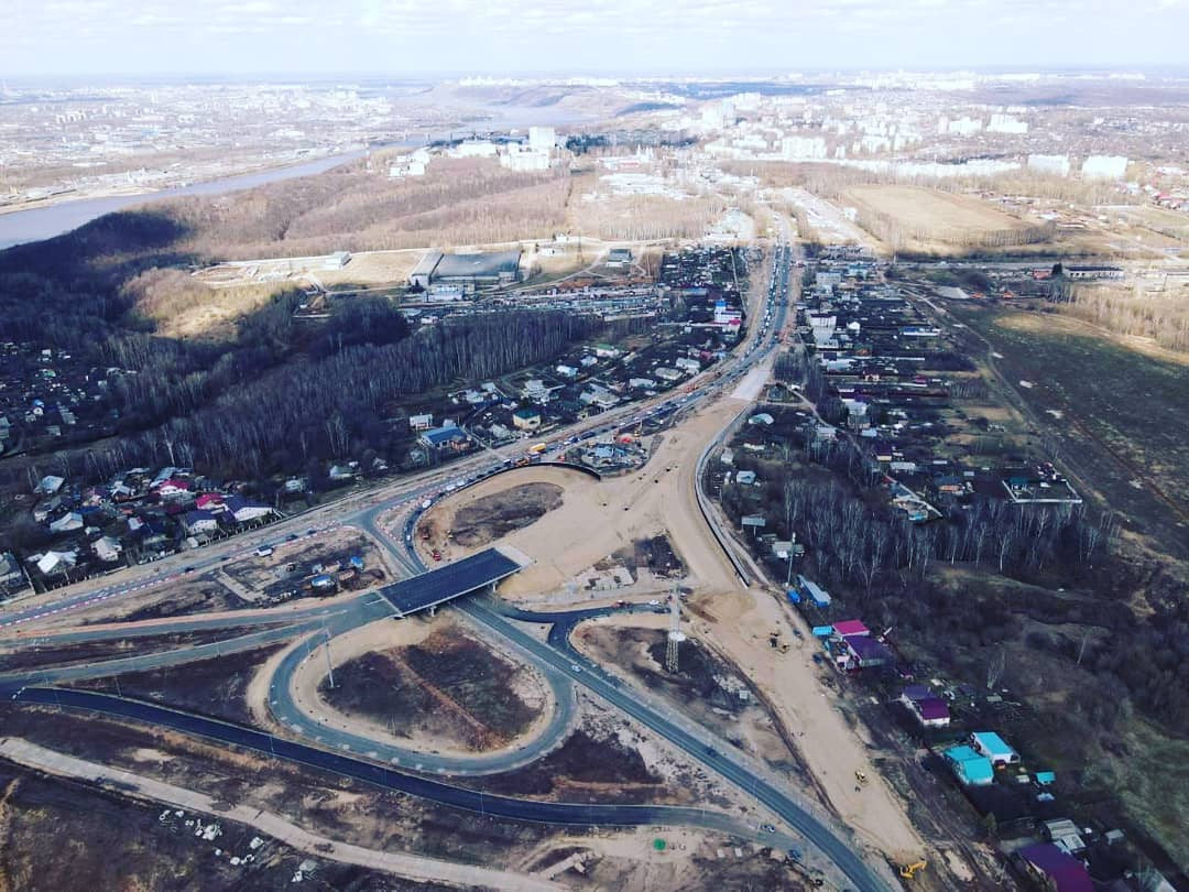 Строительство развязки в Ольгино показали с высоты