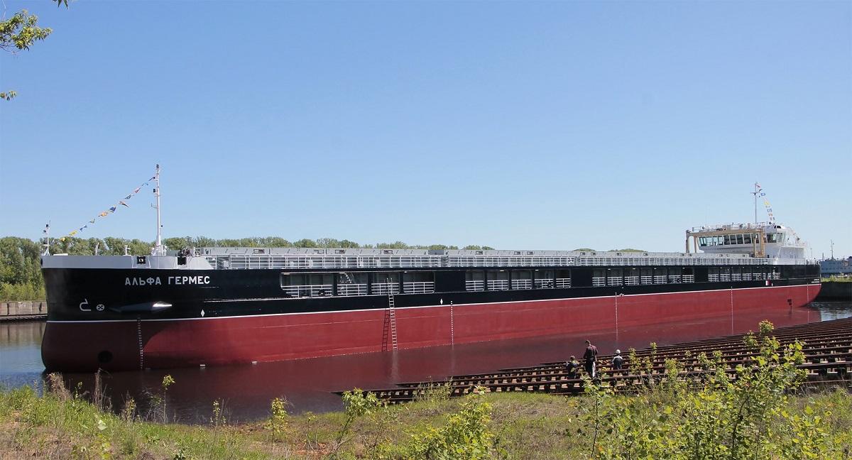 Сухогруз «Альфа Гермес» торжественно спустили на воду в Нижнем Новгороде