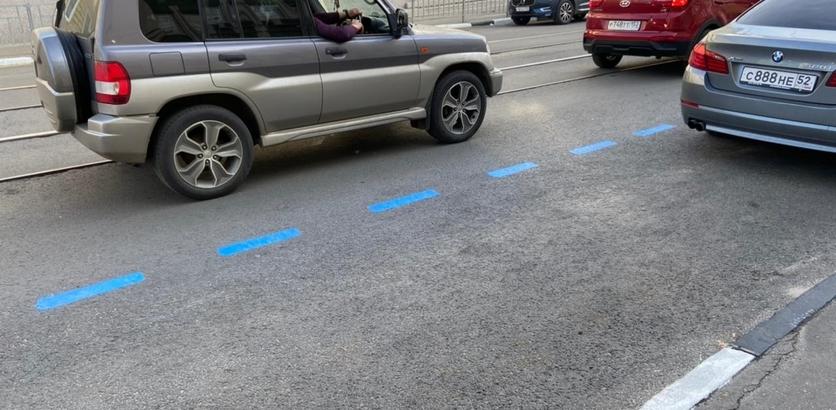 На платных парковках в Нижнем Новгороде появилась синяя разметка