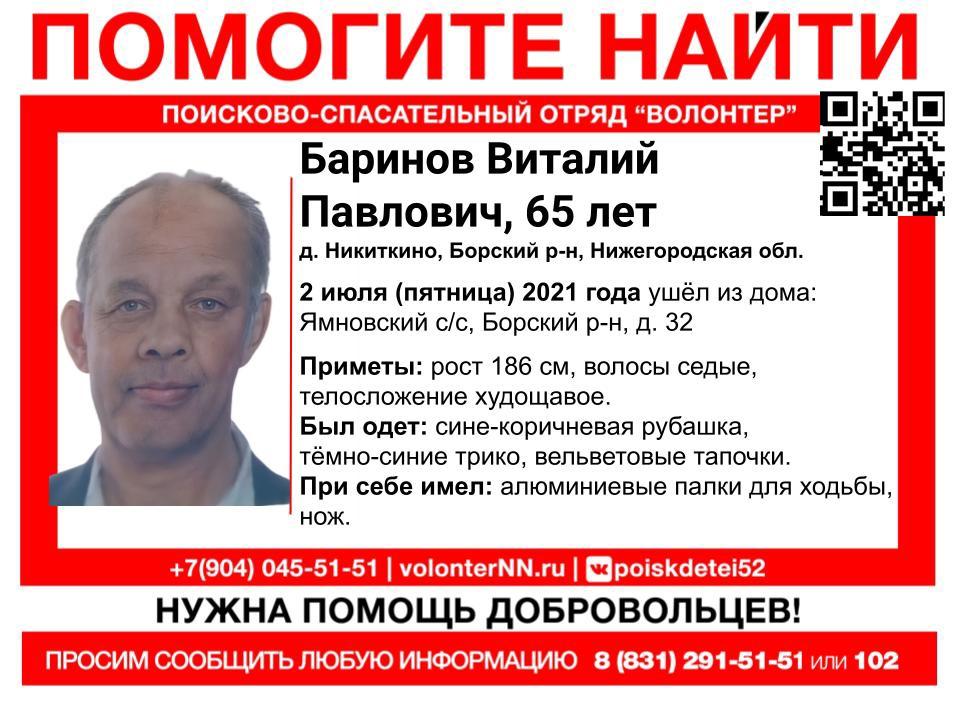 В Нижегородской области пропал 65-летний пенсионер