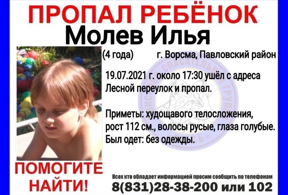 4-летний ребенок пропал в Ворсме в Нижегородской области