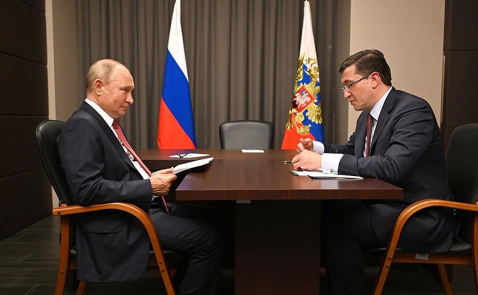 Глеб Никитин доложил Владимиру Путину осоциально-экономическом развитии Нижегородской области