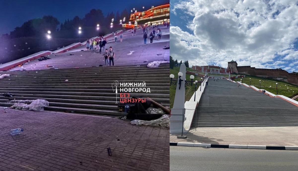 Мусор убрали с Чкаловской лестницы в Нижнем Новгороде