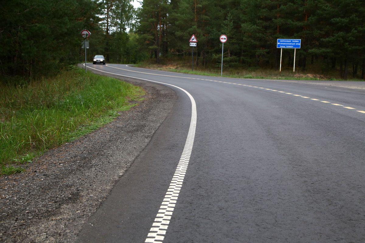 На участке Московского шоссе около Березовой поймы появилась экспериментальная разметка
