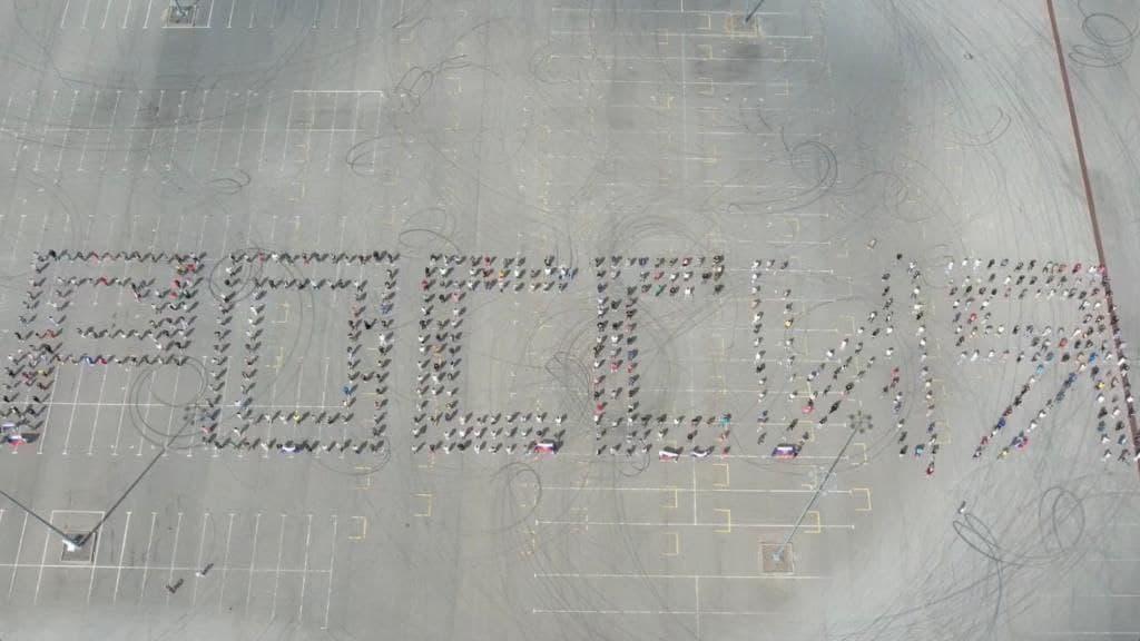Видео дня: нижегородцы выстроились в надпись «Россия» для поддержки сборной на Олимпиаде