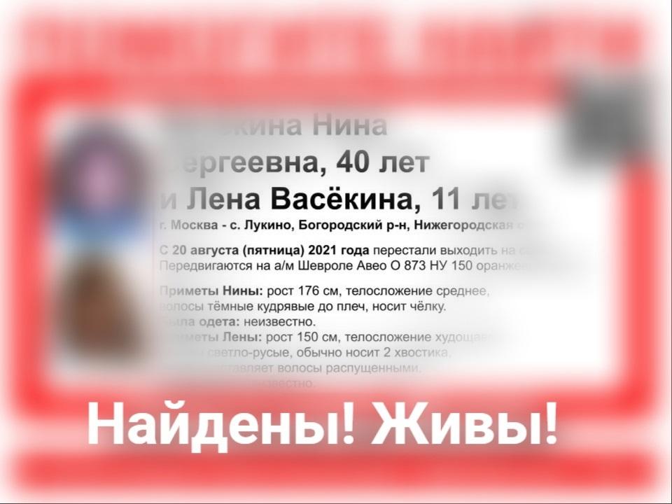 Поиски мамы с дочкой благополучно завершены в Нижегородской области