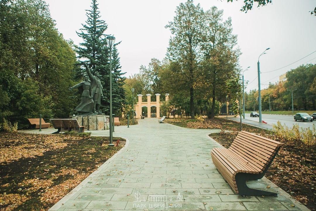 Рабочие завершили реконструкцию сквера «Первых маевок» в нижегородском парке «Швейцария»