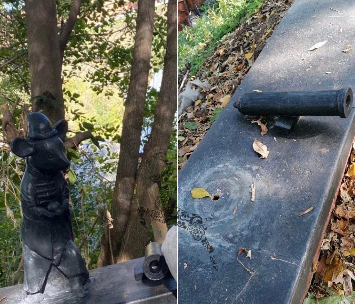 Скульптуру мыши похитили с парапета на Почаинском овраге в Нижнем Новгороде
